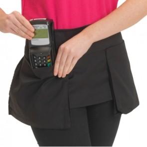 Big pocket waist apron in black polycotton
