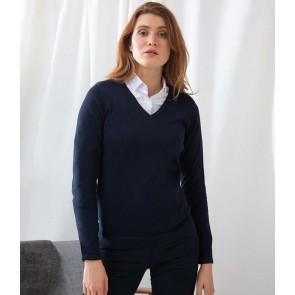Henbury Ladies Lightweight Cotton Acrylic V Neck Sweater